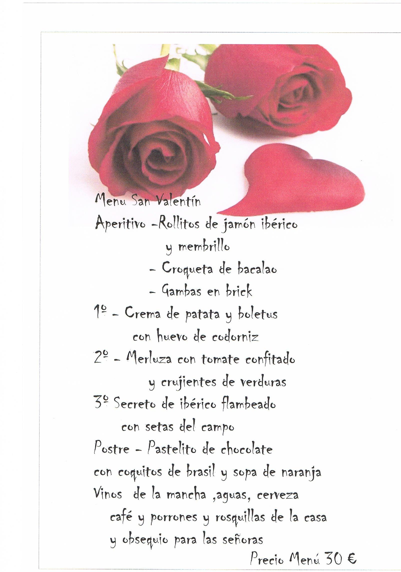 Menú San Valentín 2014