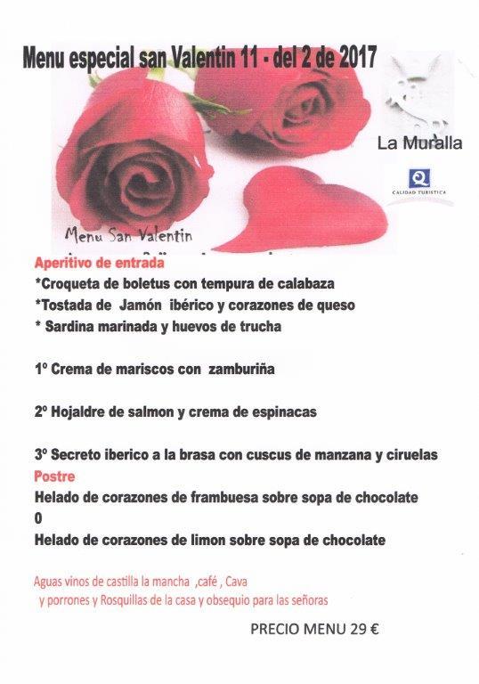 Menú San Valentín En Cuenca 2017